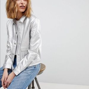 NWT Resume metallic vegan leather jacket camo moto